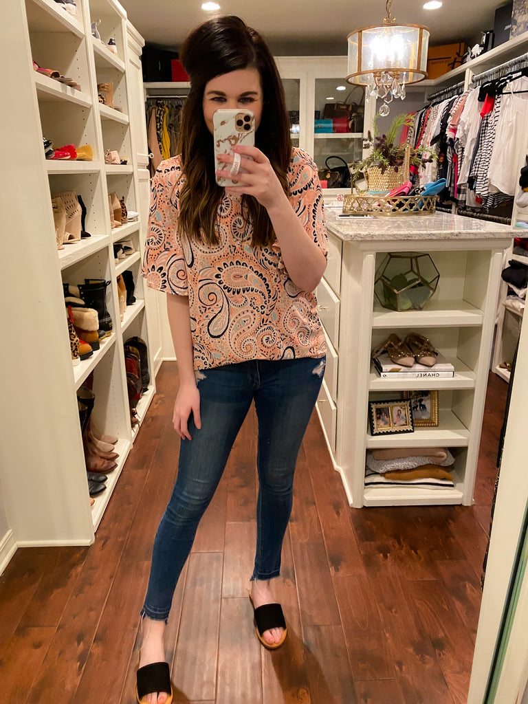SALE! Positively Paisley Top in Coral