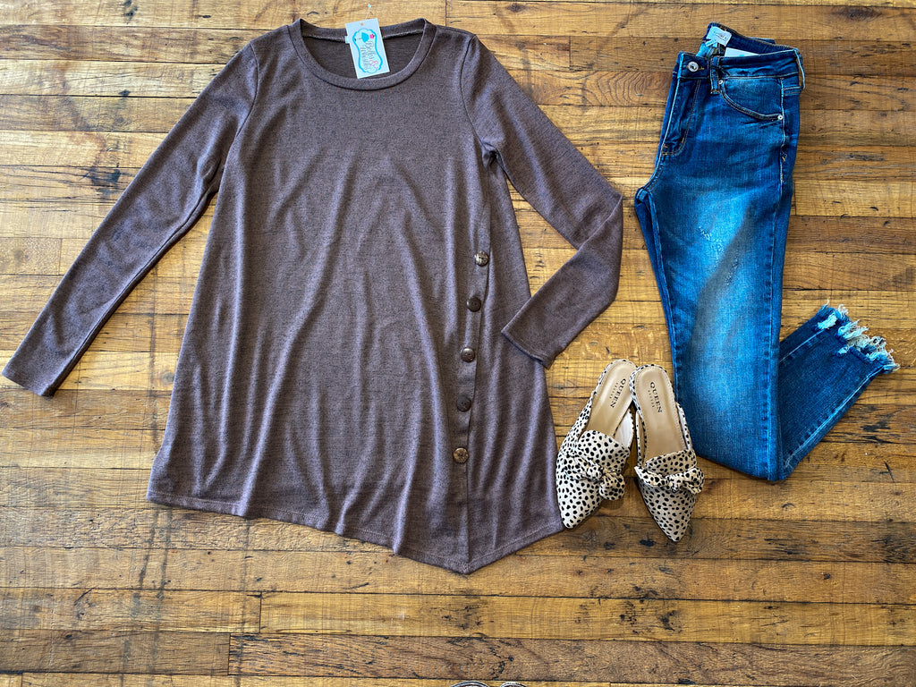 SALE! Weston Button Tunic in Mocha