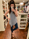 *BELLES & DOORBUSTER* Bailey Button Tank in Ice Blue and Eggplant
