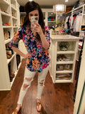 Bring Me Flowers Tunic in White and Navy