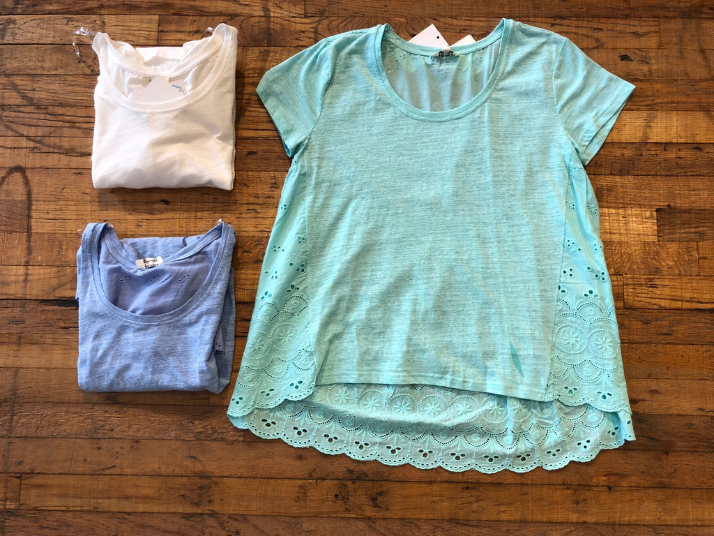 SALE! Byrdie Top in White, Blue, and Mint
