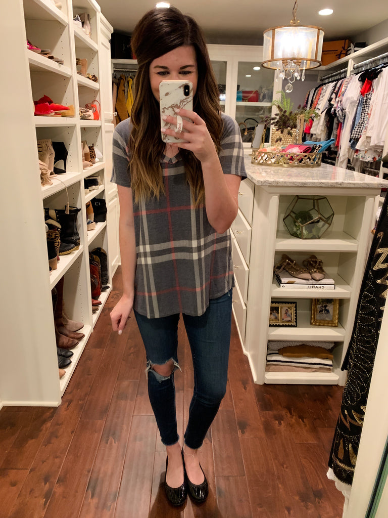 SALE! Jude Plaid Tee in Navy and Taupe