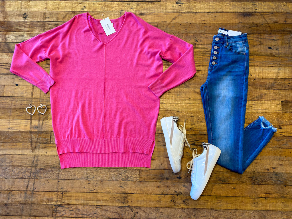 Feel the Chill Sweater in Bright Fuchsia