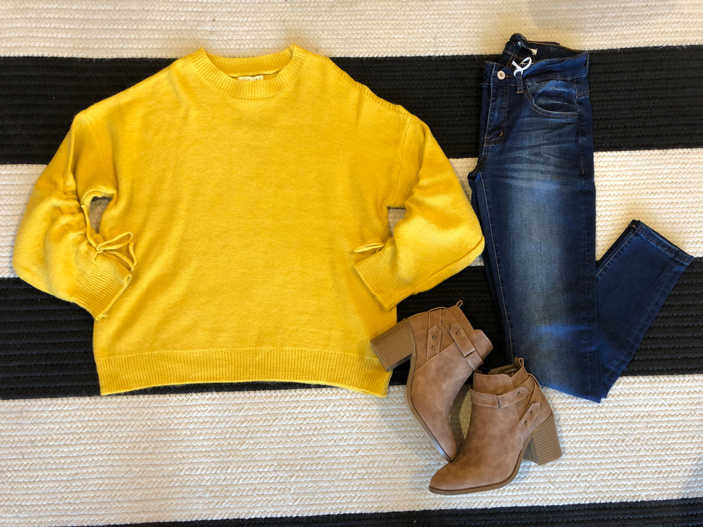 SALE! Whistler Cold Shoulder Sweater in Mustard