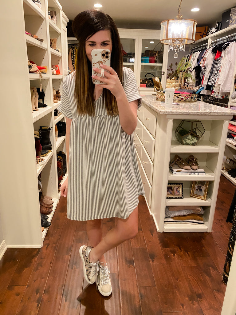 Bahama Brunch Dress in Gray Stripes
