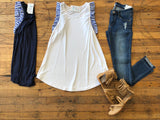 SALE! *BELLES & STEALS*  Adler Ruffle Tank in Navy and White