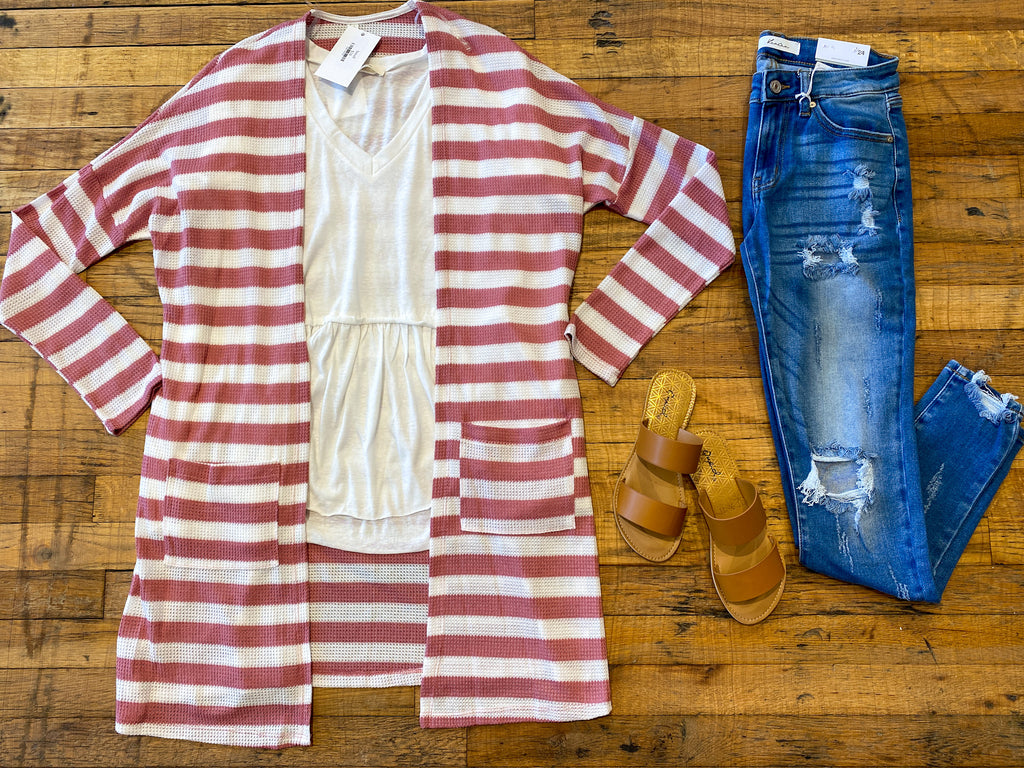 SALE! Barton Striped Cardigan in Pink