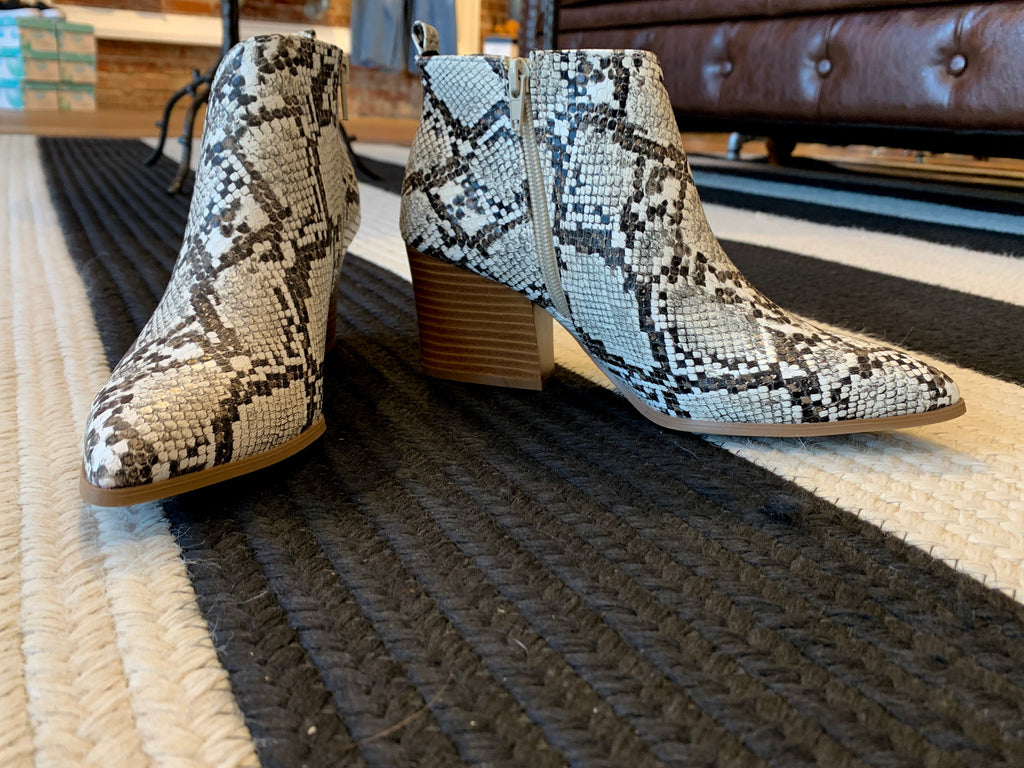 Native Pointy Toe Booties in Snake