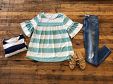 Clancy Top in Navy and Seafoam