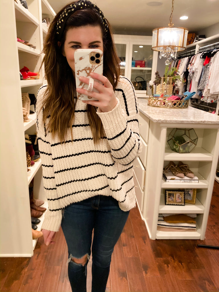 Chaplin Striped Sweater in Cream/Black