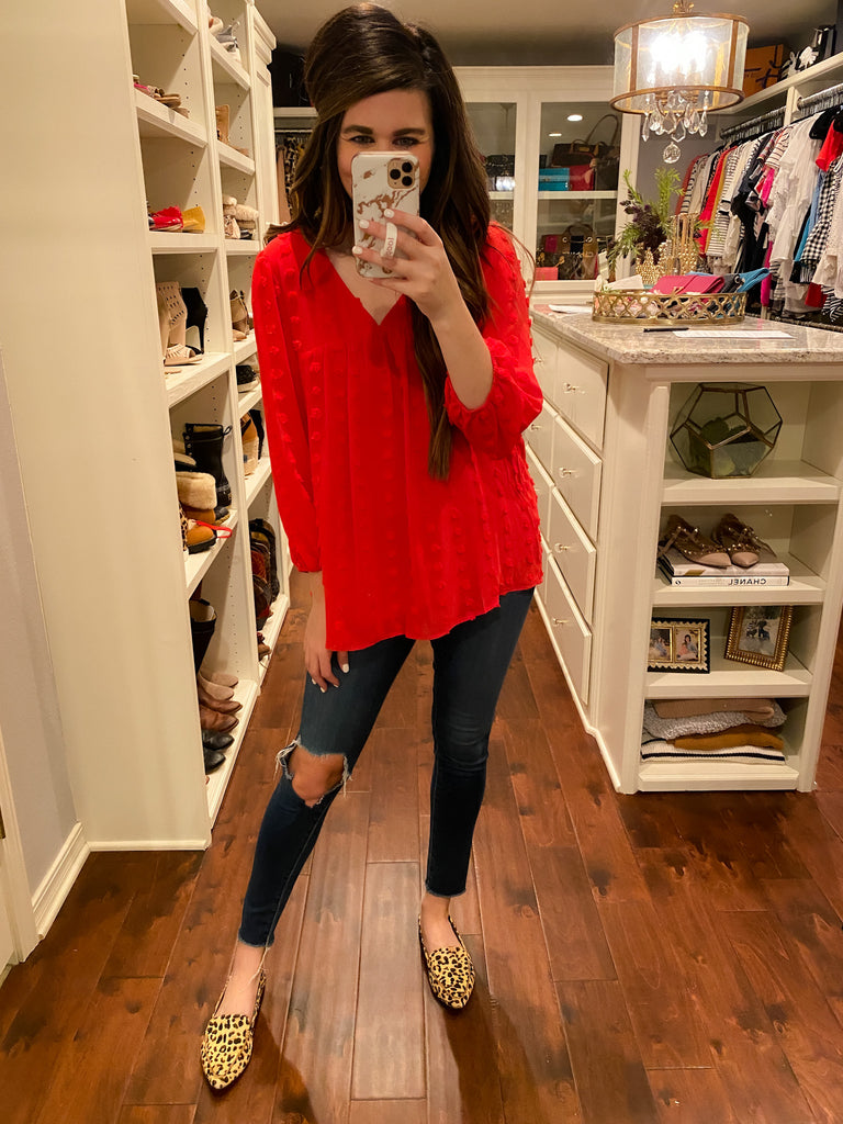 Emilia Swiss Dot Top in Red