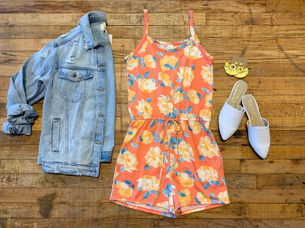 Bayside Blooms Romper in Coral