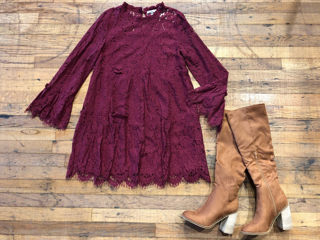 My Best to You Lace Dress in Burgundy