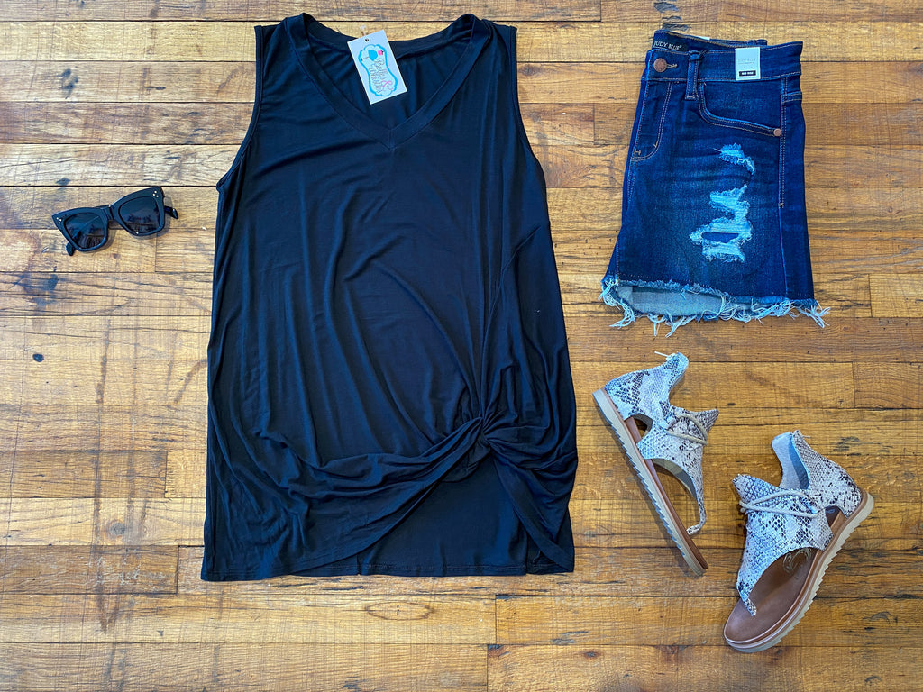 Twist and Shout Tank in Black