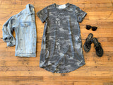Weekend Feels Camo Tunic Dress in Gray