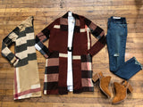 Eloise Plaid Cardigan in Beige and Brick