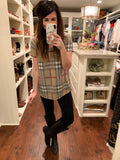 Jude Plaid Tee in Navy and Taupe