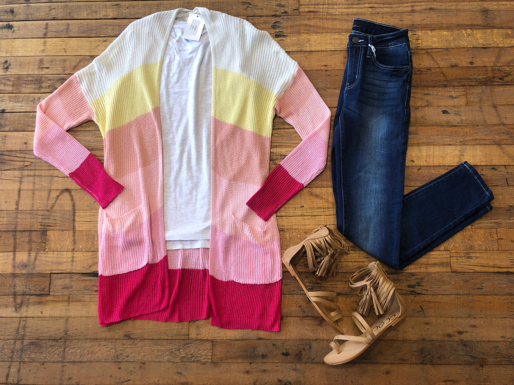 Color Kick Cardigan in Pink/Yellow