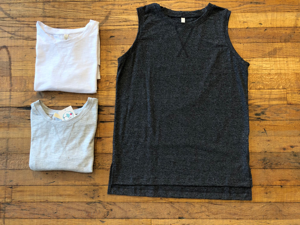 Solid Slub Tank in White, Gray, and Charcoal