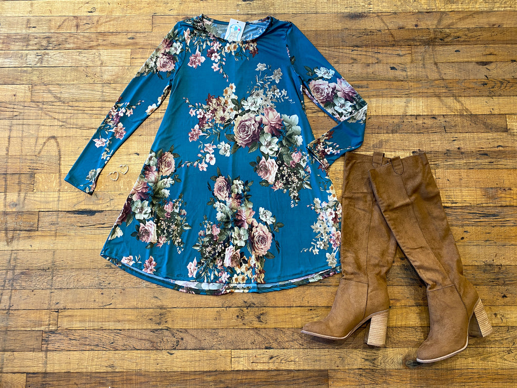 Greer Floral Dress in Dark Teal