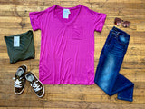 Basic V-Neck Tee in Olive and Magenta