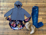 Gabby Striped and Floral Hoodie