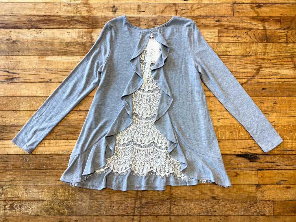 SALE! Monroe Lace Back Top in Heather Gray