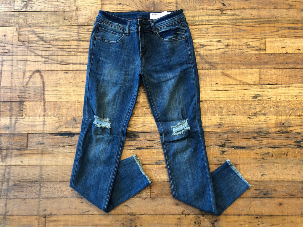 Elle Distressed Jeans in Dark Wash