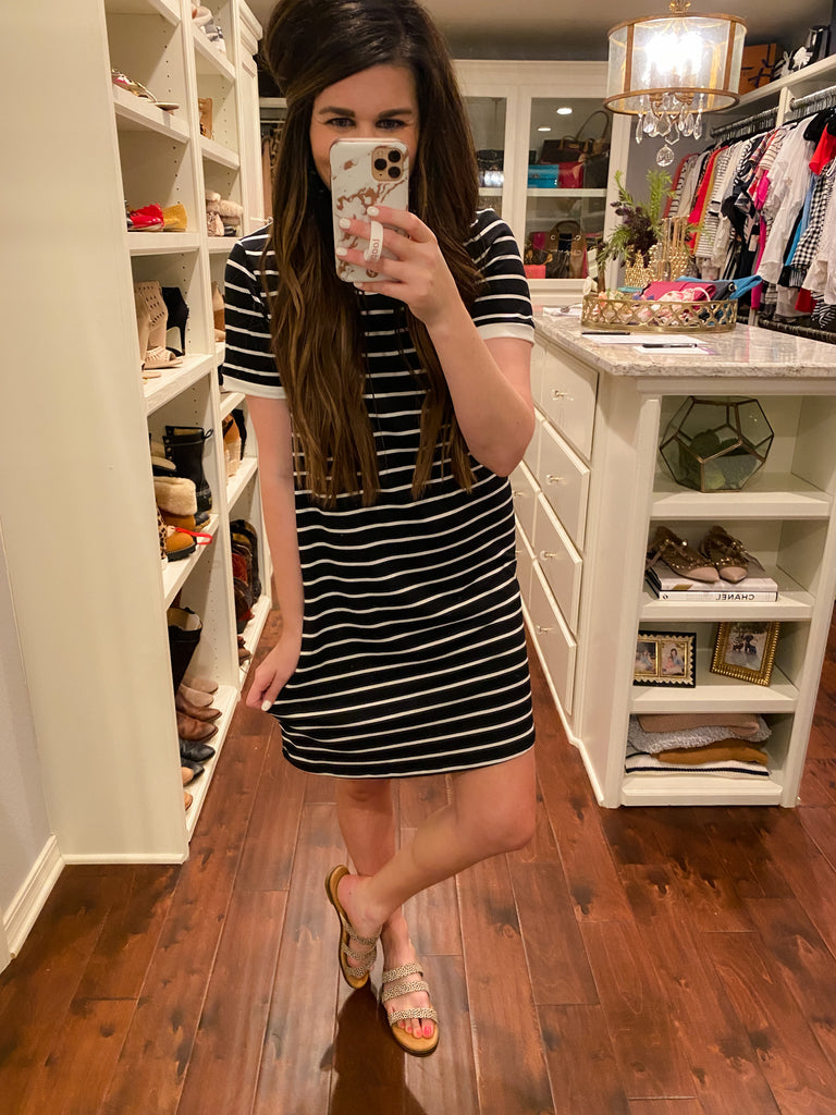 Gabrielle Striped Dress in Black