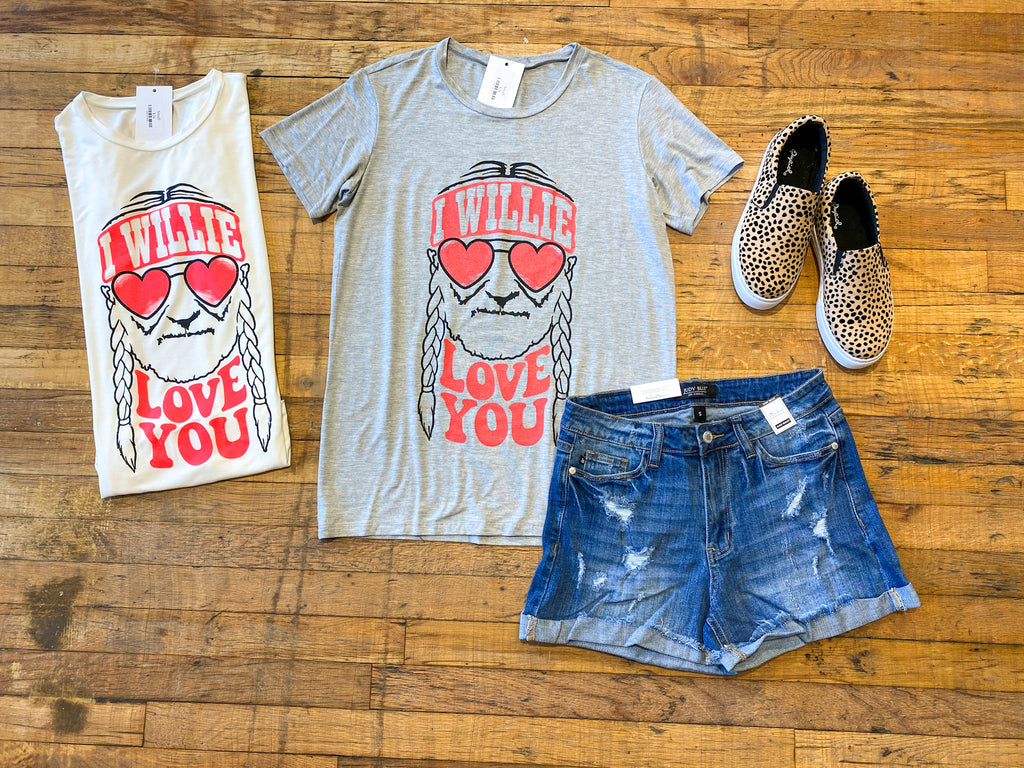 I Willie Love You Tee in White and Gray