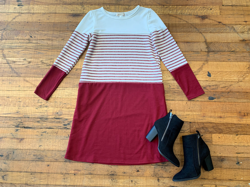 SALE! Remi Color Block Dress in Burgundy
