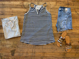 Gulf Shores Tank in Gray and Navy