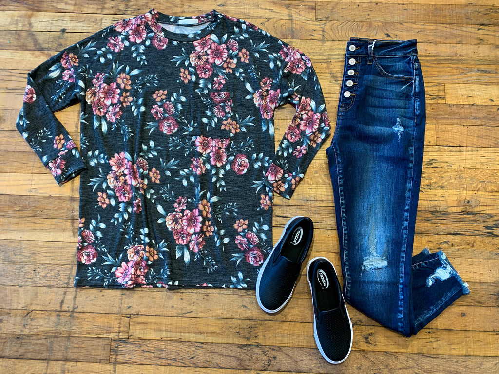 Sophia Floral Pocket Top in Black