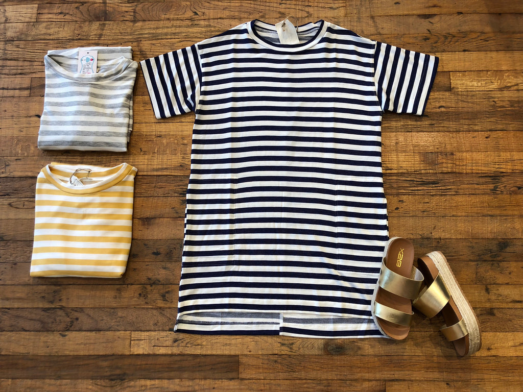 Miranda Striped Dress in Gray, Mustard, and Navy