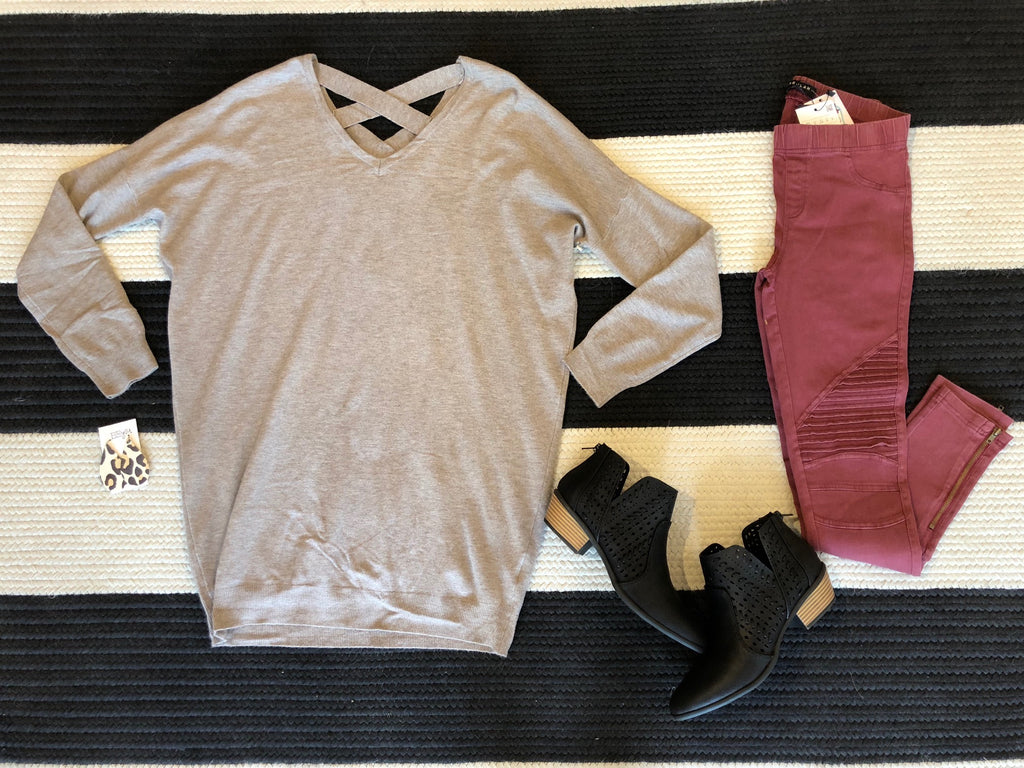 Well Traveled Criss Cross Tunic in Mocha