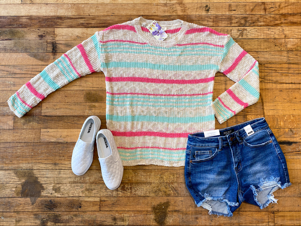 Beach Town Striped Sweater