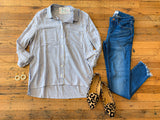 *BELLES & STEALS * Chelsey Button Down in Blue
