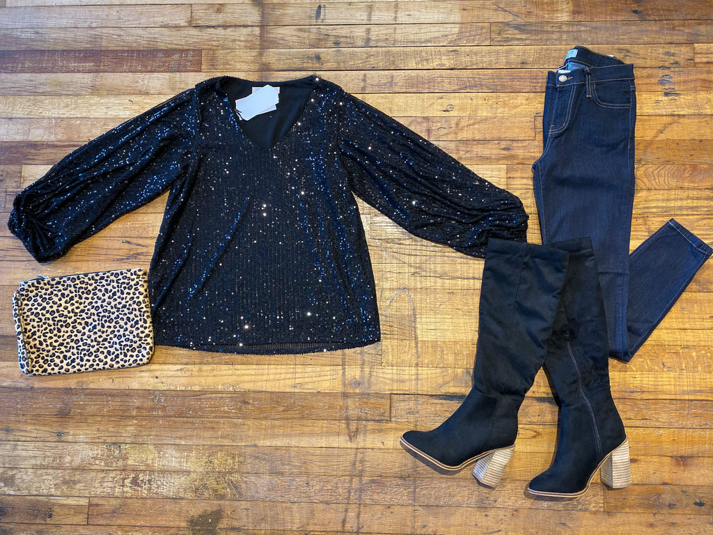 Dazzle 'Em Sequin Top in Black
