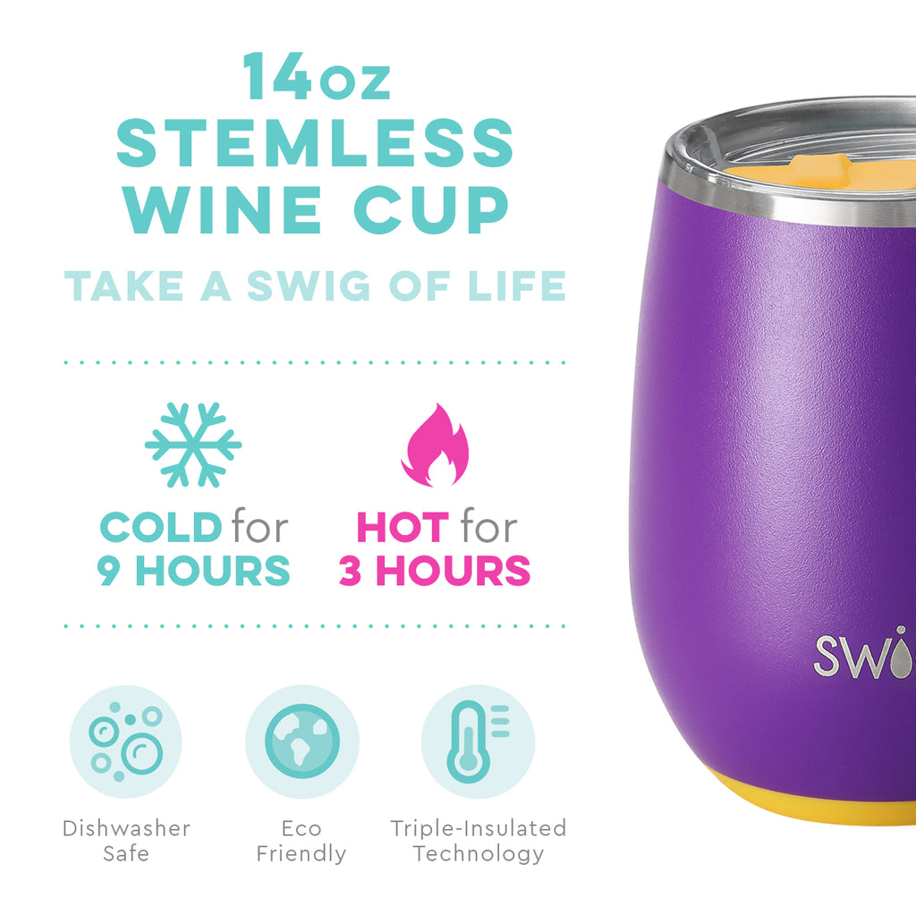 Swig Matte Purple & Gold Stemless Wine Cup