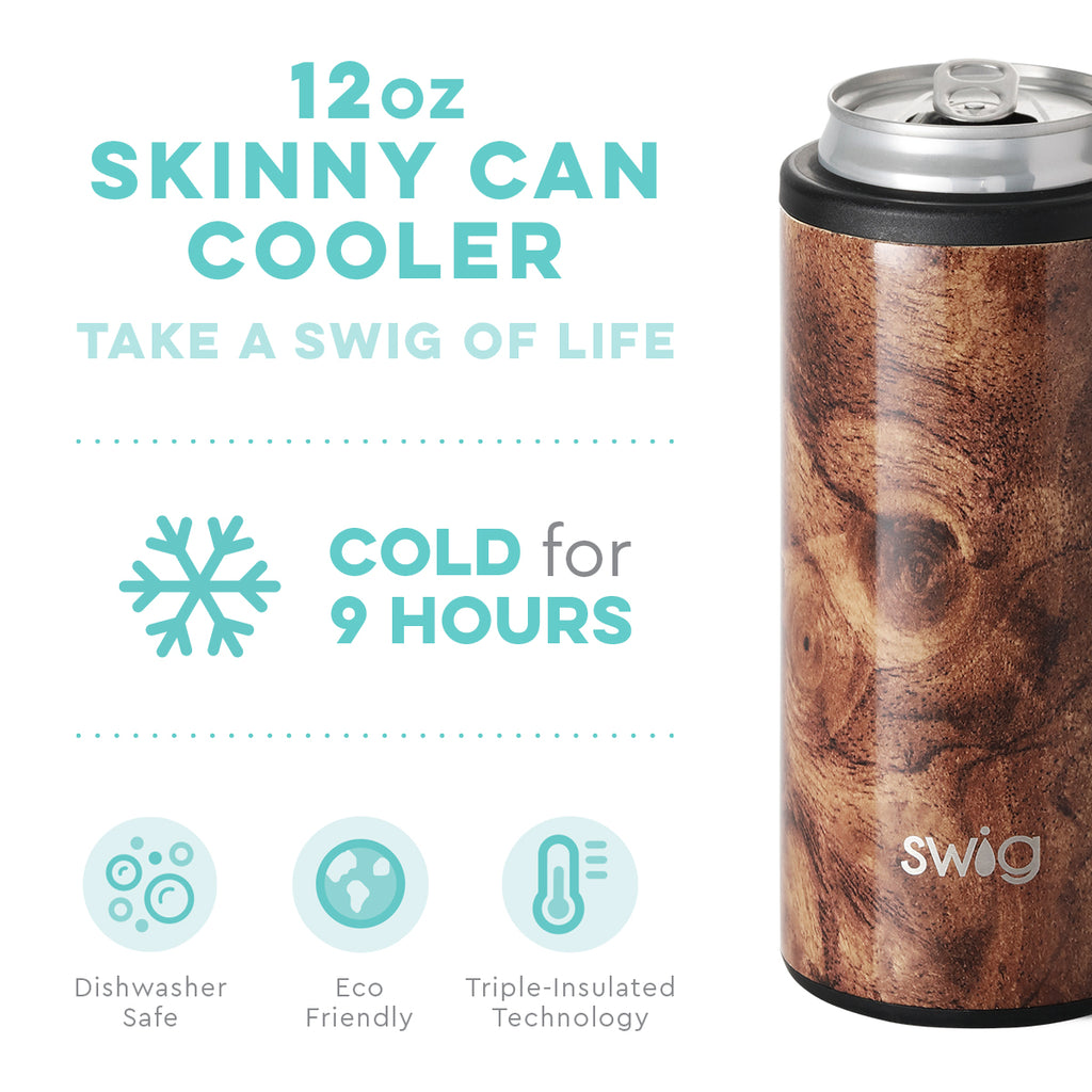 Swig Black Walnut 12oz Skinny Can Cooler
