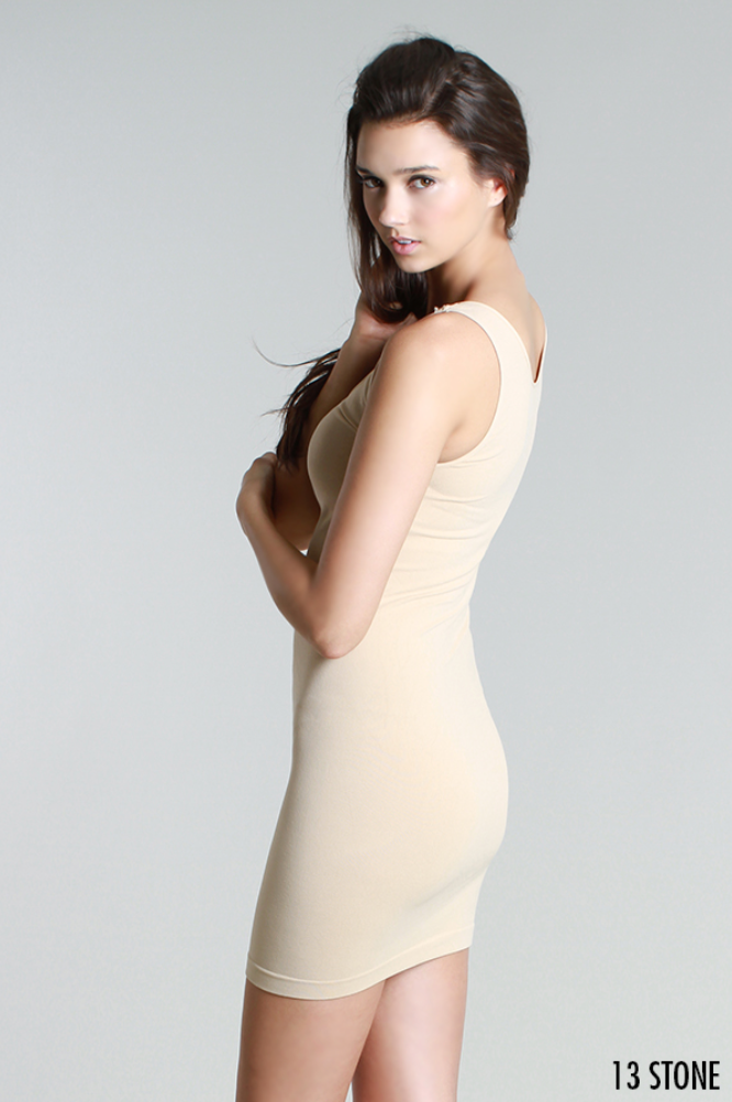 Nikibiki Plain Jersey Tank Dress in Stone