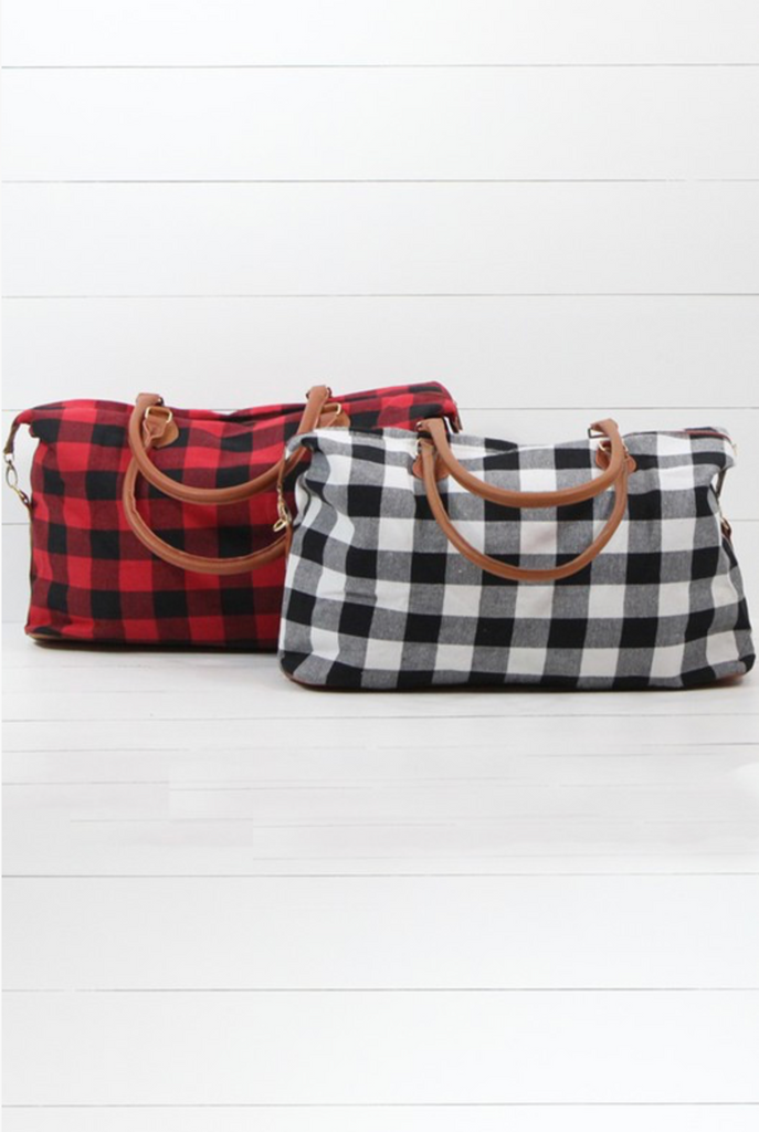 DOORBUSTER! Buffalo Plaid Weekender Bag in Red and White
