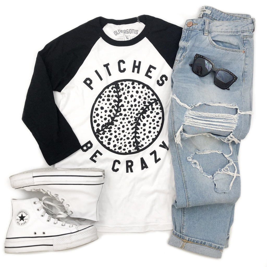 Pitches Be Crazy Baseball Tee