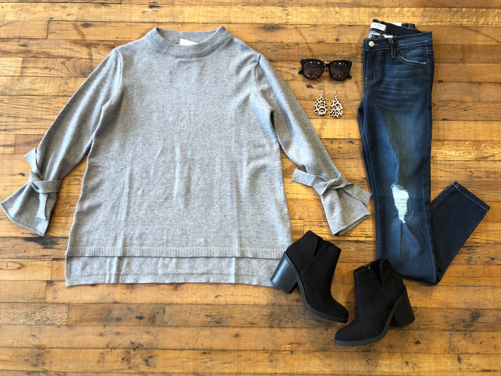 Robbins Tie Sleeve Sweater in Gray