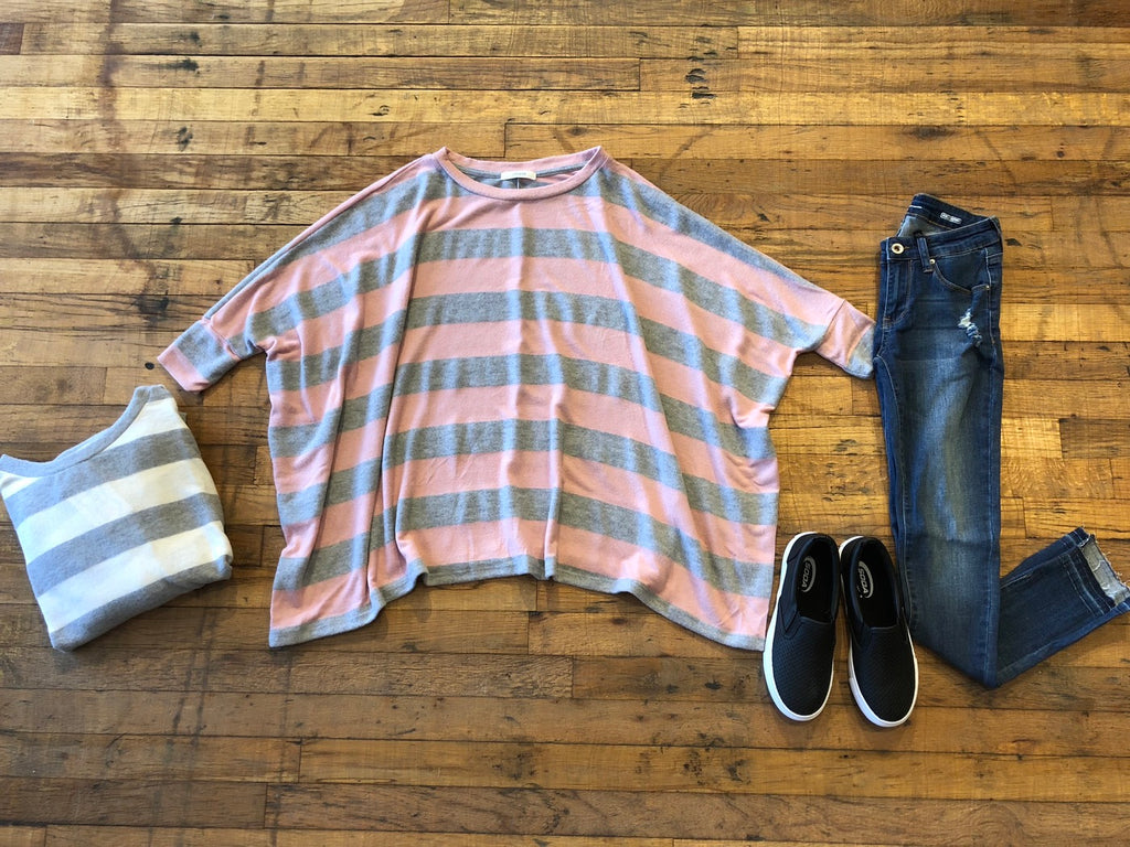 Crushing on Comfy Striped Top in Gray and Pink