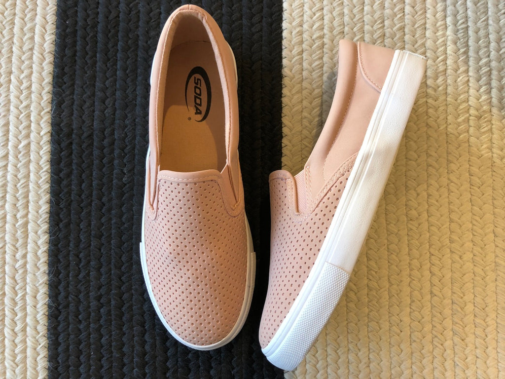Perforated Blush Slip On Sneakers