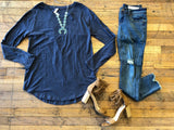 *BELLES & STEALS* Navy Slub Top