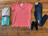 Basic Striped V-Neck in White, Mint, and Coral