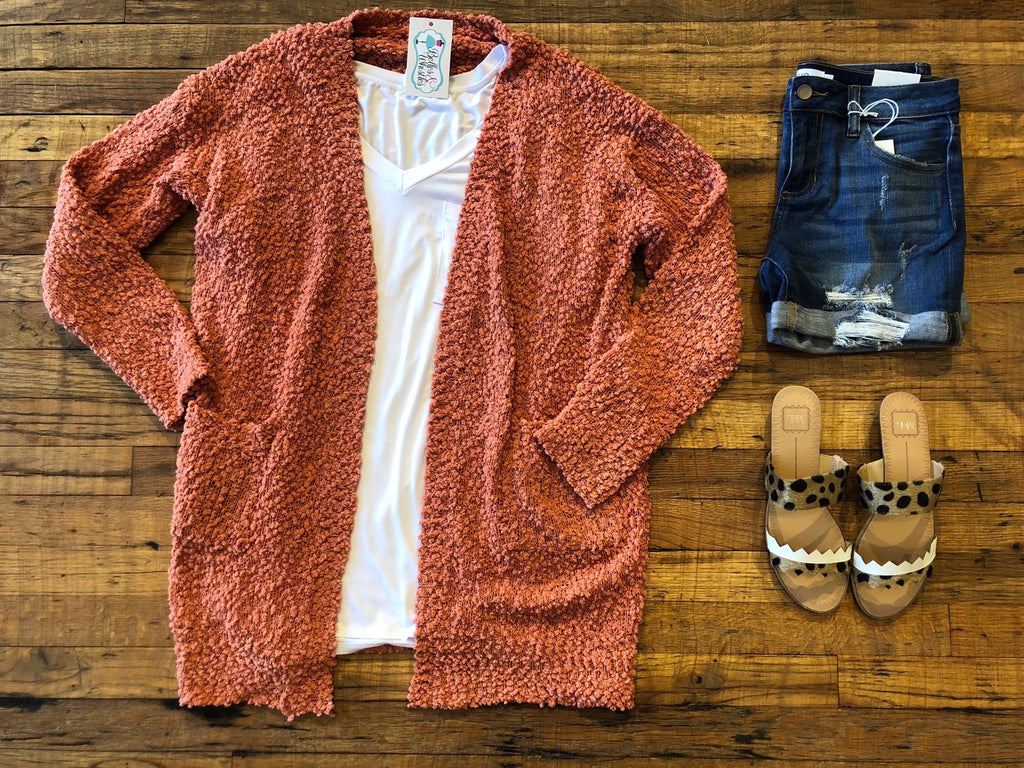 Cabin Fever Cardigan in Coral