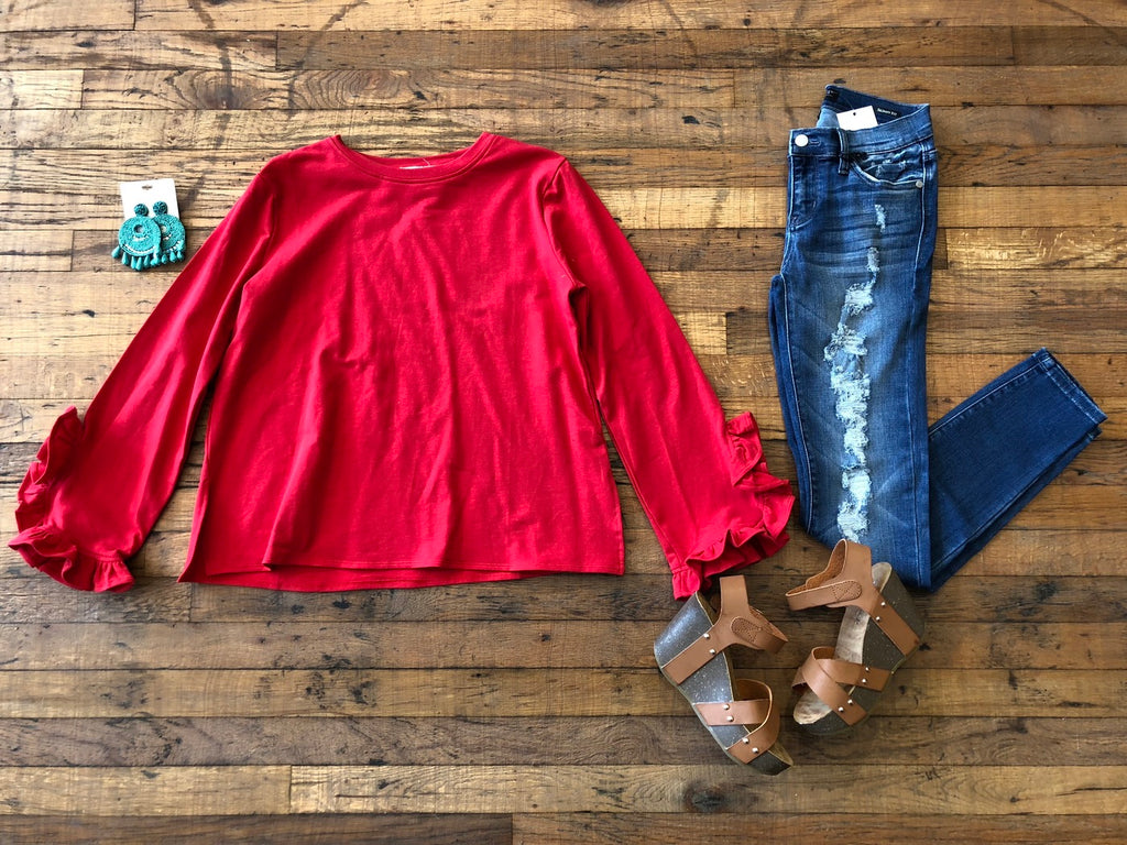 Saoirse Ruffle Sleeve Top in Red